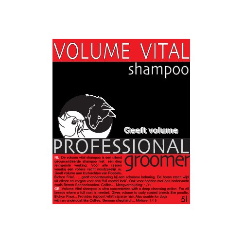shampoo, Volume Vital, Professional Groomer 5L