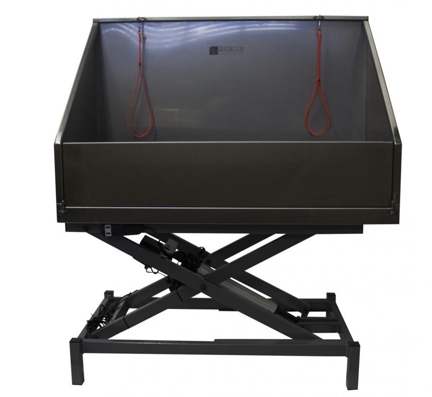 c6020 - Ravenstein elektrisch bad met klep op inox  scissor onderstel